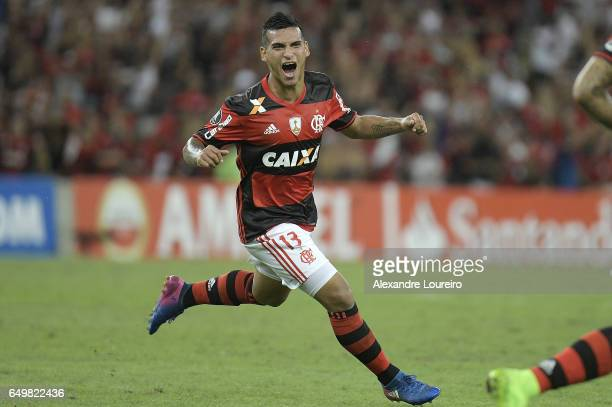 Miguel Trauco of Flamengo celebrates a scored goal during the match between Flamengo and San Lorenzo as part of Copa Bridgestone Libertadores 2017 at...