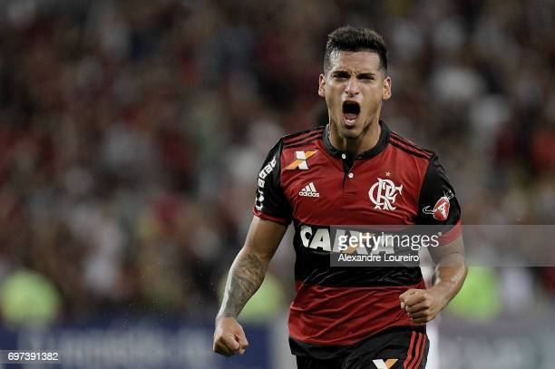 Miguel Trauco of Flamengo celebrates a scored goal during the match between Fluminense and Flamengo as part of Brasileirao Series A 2017 at Maracana...