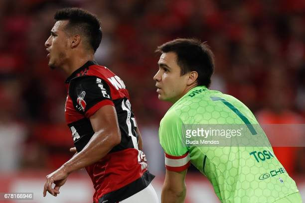 Miguel Trauco of Flamengo celebrates scored goal against Universidad Catolica during a match between Flamengo and Universidad Catolica as part of...
