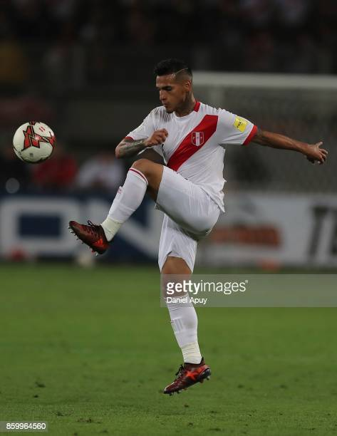 Miguel Trauco of Peru controls the ball during a match between Peru and Colombia as part of FIFA 2018 World Cup Qualifiers at Monumental Stadium on...