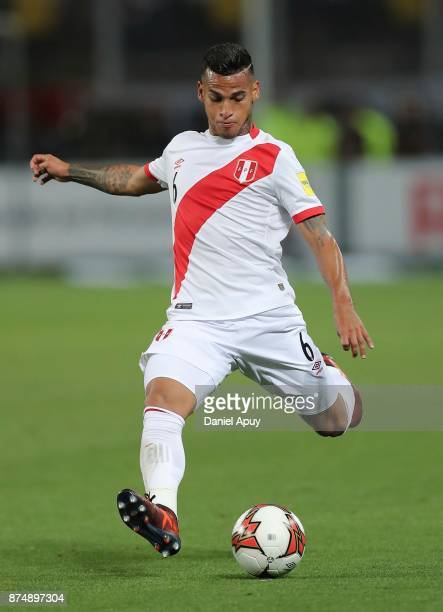 Miguel Trauco of Peru kicks the ball during a second leg match between Peru and New Zealand as part of the 2018 FIFA World Cup Qualifier Playoff at...
