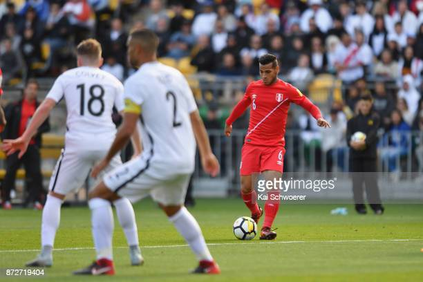 Miguel Trauco of Peru looks to pass the ball during the 2018 FIFA World Cup Qualifier match between the New Zealand All Whites and Peru at Westpac...