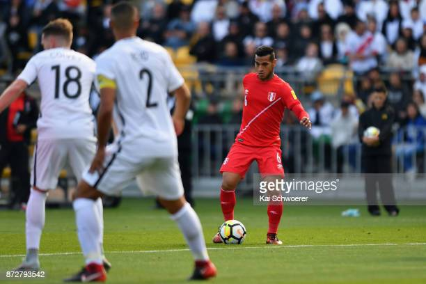 Miguel Trauco of Peru makes a break during the 2018 FIFA World Cup Qualifier match between the New Zealand All Whites and Peru at Westpac Stadium on...