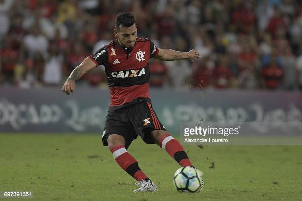Miguel Trauco of Flamengo in action during the match between Fluminense and Flamengo as part of Brasileirao Series A 2017 at Maracana Stadium on...