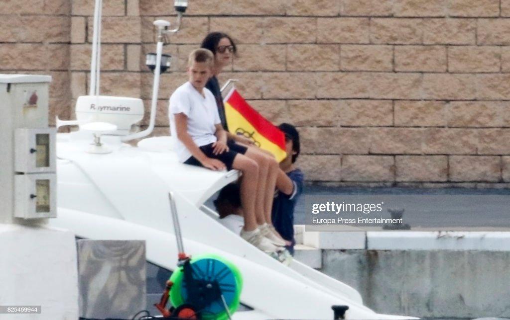 Miguel Urdangarin and Victoria Federica de Marichalar y Borbon is seen on August 1, 2017 in Palma de Mallorca, Spain.