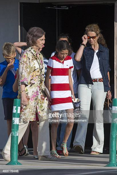 Miguel Urdangarin Queen Sofia of Spain Victoria Federica de Marichalar and Princess Elena of Spain are seen going to the cinema on August 2 2014 in...