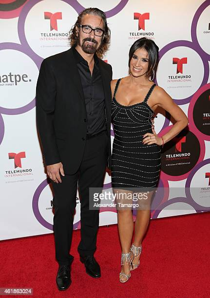 Miguel Varoni and Catherine Siachoque arrive at Telemundo International Welcome Party during NATPE 2015 at Adrienne Arsht Center on January 20 2015...