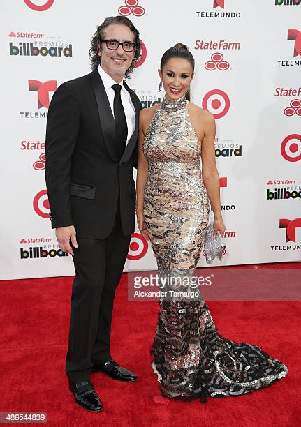 Miguel Varoni and Catherine Siachoque arrive at the 2014 Billboard Latin Music Awards at Bank United Center on April 24 2014 in Miami Florida