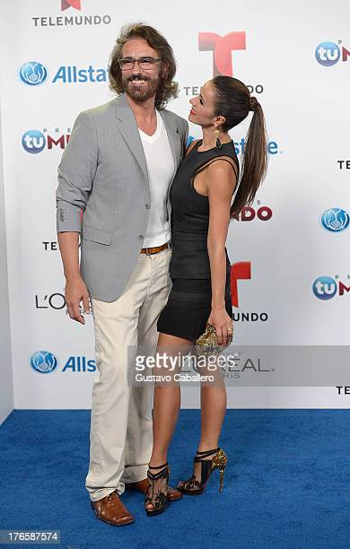 Miguel Varoni and Catherine Siachoque arrives for Telemundo's Premios Tu Mundo Awards at American Airlines Arena on August 15 2013 in Miami Florida
