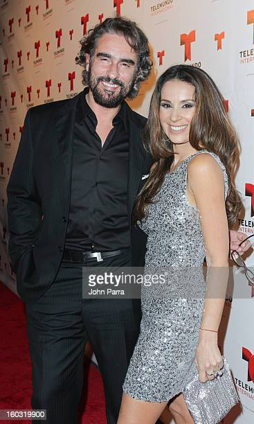 Miguel Varoni and Catherine Siachoque attend Telemundo International NATPE VIP Party at Bamboo Miami on January 28 2013 in Miami Florida