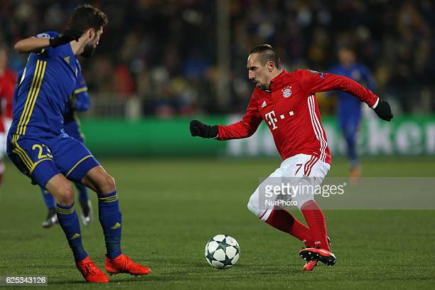 Miha Mevlja of FC Rostov and Franck Ribéry of FC Bayern Munich vie for the ball during the UEFA Champions League Group D football match between FC...