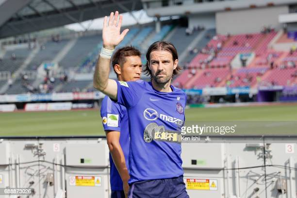 Mihael Mikic of Sanfrecce Hiroshima applauds supporters after the scoreless draw in the JLeague J1 match between Sanfrecce Hiroshima and Jubilo Iwata...