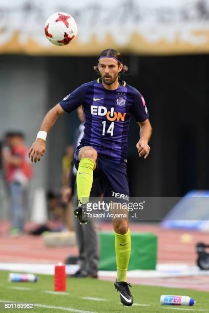 Mihael Mikic of Sanfrecce Hiroshima in action during the JLeague J1 match between Sanfrecce Hiroshima and Omiya Ardija at Edion Stadium on June 25...