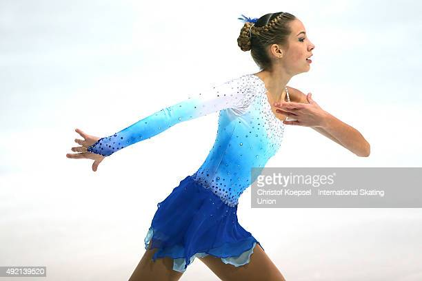 Mihaela Stimac Rojtinic of Coratia skates during the junior ladies free skating of the ISU Junior Grand Prix at Dom Sportova on October 10 2015 in...