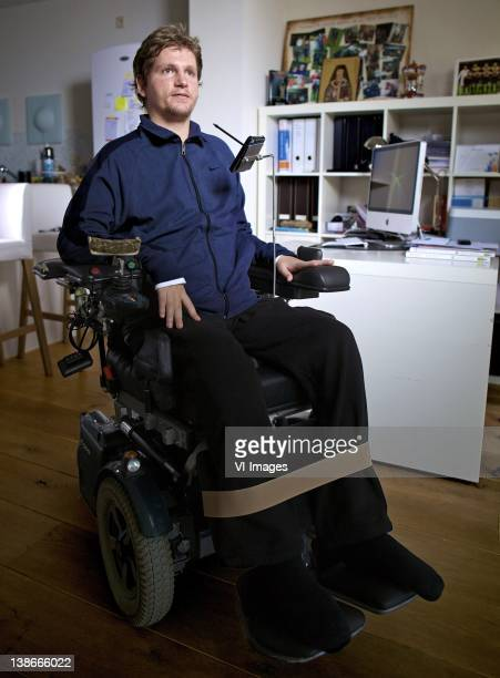 Mihai Nesu who suffered a bad injury during a training session poses for a photo shoot at his home on January 31 2012 in Utrecht Netherlands