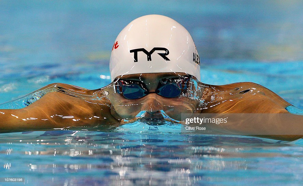Mihail Alexandrov of USA competes in the Men's 100m Breaststroke heats during day one of the 10th FINA World Swimming Championships (25m) at the Hamdan bin Mohammed bin Rashid Sports Complex on December 15, 2010 in Dubai, United Arab Emirates.