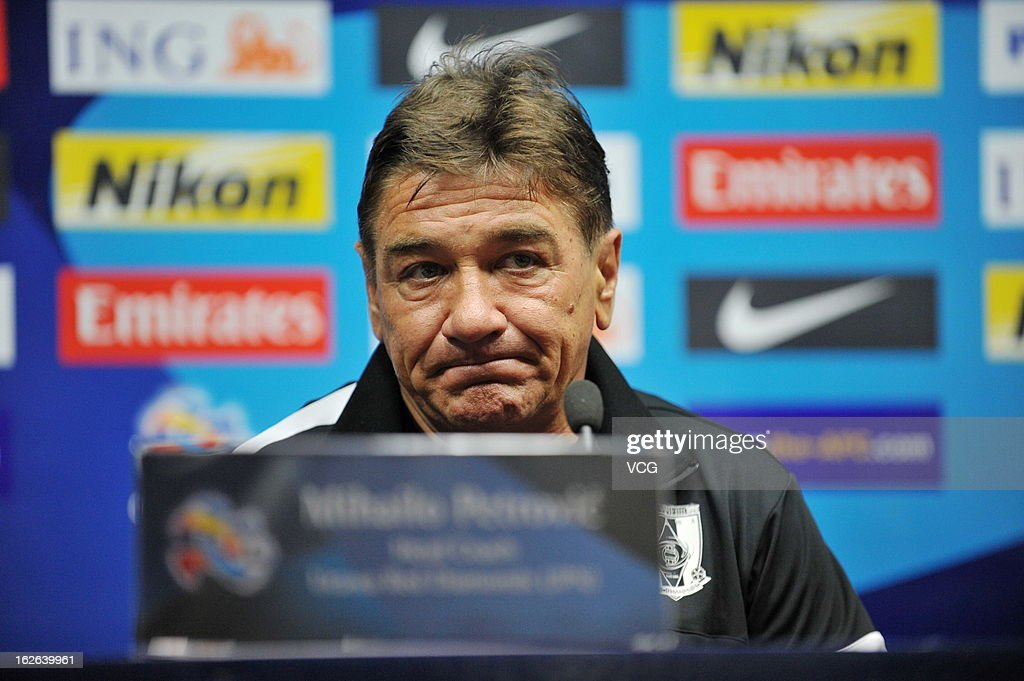 Mihailo Petrovic, coach of Urawa Red Diamonds, looks on during a press conference ahead of the AFC Champions League match between Guangzhou Evergrande and Urawa Red Diamonds at Tianhe Sports Center on February 25, 2013 in Guangzhou, China.