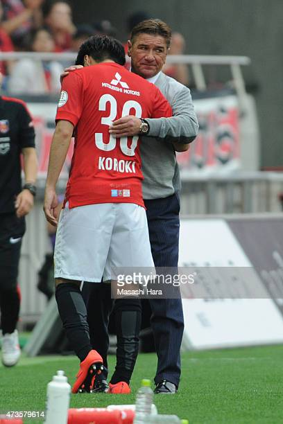 Mihailo Petroviccoach of Urawa Red Diamonds looks on during the JLeague match between Urawa Red Diamonds and FC Tokyo at Saitama Stadium on May 16...