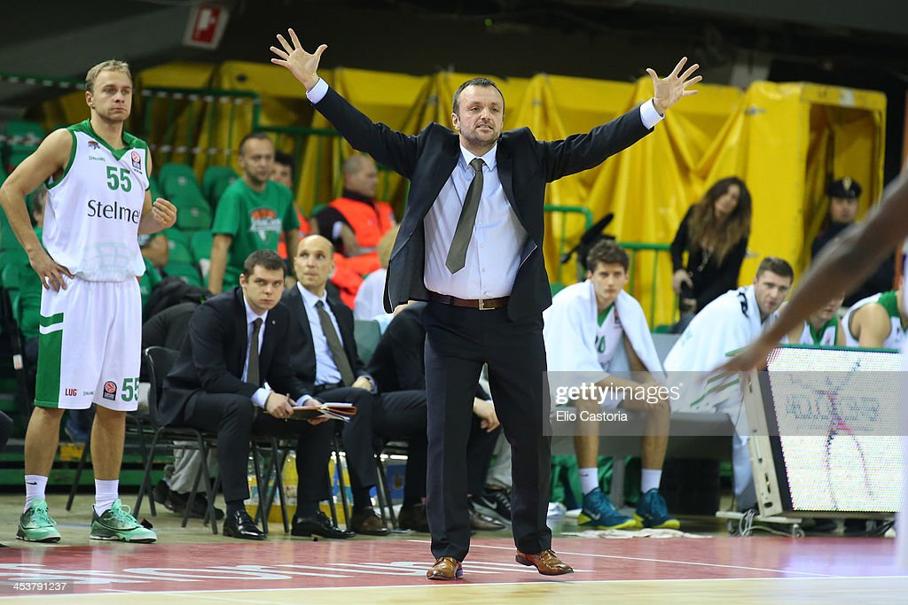 Mihailo Uvalin, Head Coach of Stelmet Zielona Gora in action during the 2013-2014 Turkish Airlines Euroleague Regular Season Date 8 game between Montepaschi Siena v Stelmet Zielona Gora at Nelson Mandela Forum on December 5, 2013 in Florence, Italy.