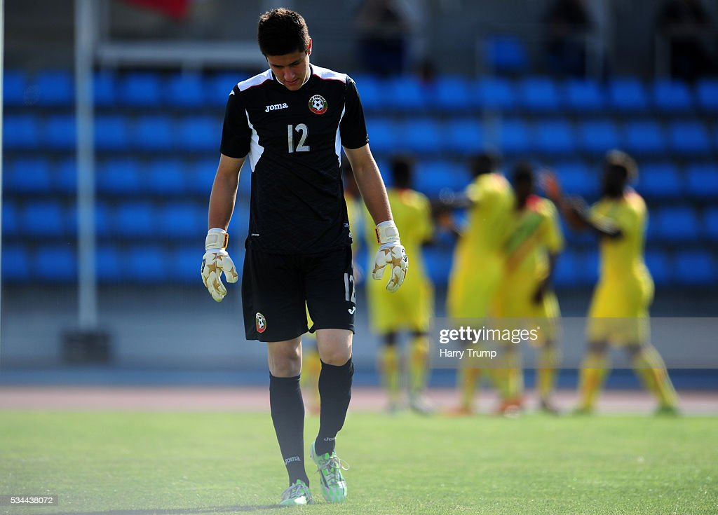 Mihali Mihaylov of Bulgaria cuts a dejected figure as Mali score during the Toulon Tournament match between Mali and Bulgaria at the Stade Leo Lagrange on May 26, 2016 in Toulon, France.