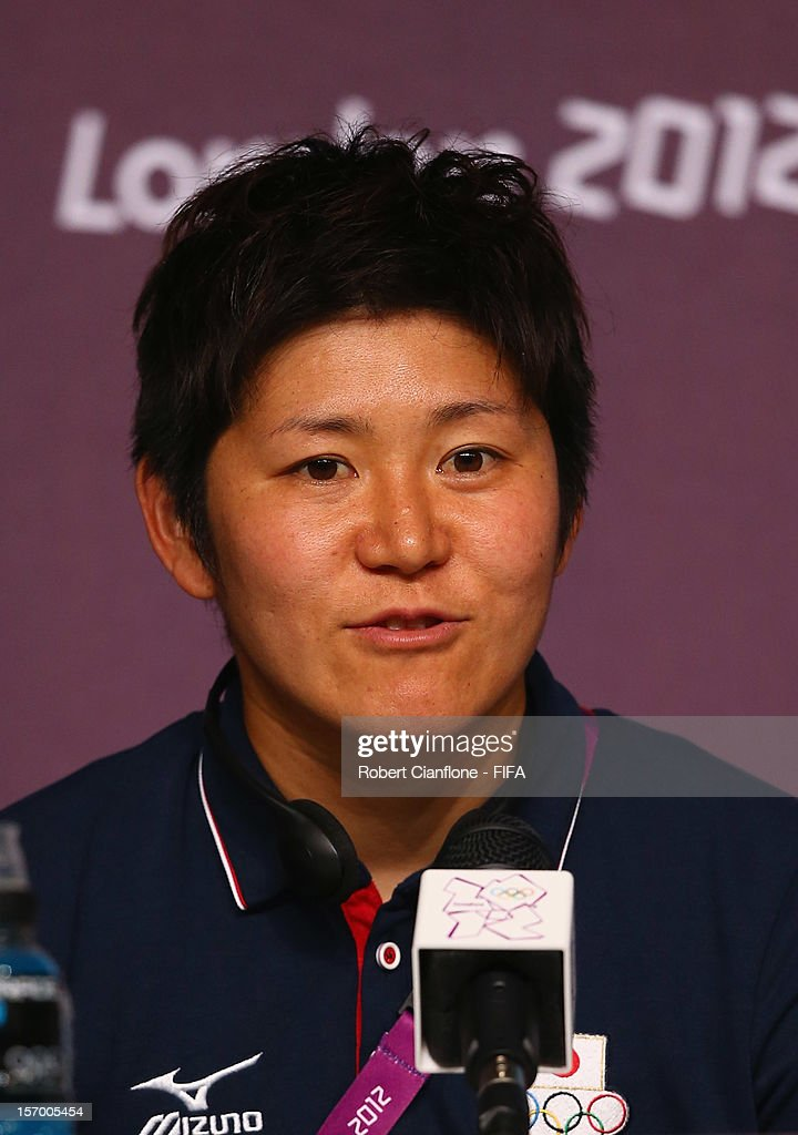 <a gi-track='captionPersonalityLinkClicked' href=/galleries/search?phrase=Miho+Fukumoto&family=editorial&specificpeople=4043871 ng-click='$event.stopPropagation()'>Miho Fukumoto</a> during the Women's Football Final press conference at the Main Press Centre as part of the London 2012 Olympic Games on August 8, 2012 in Newcastle upon Tyne, England.