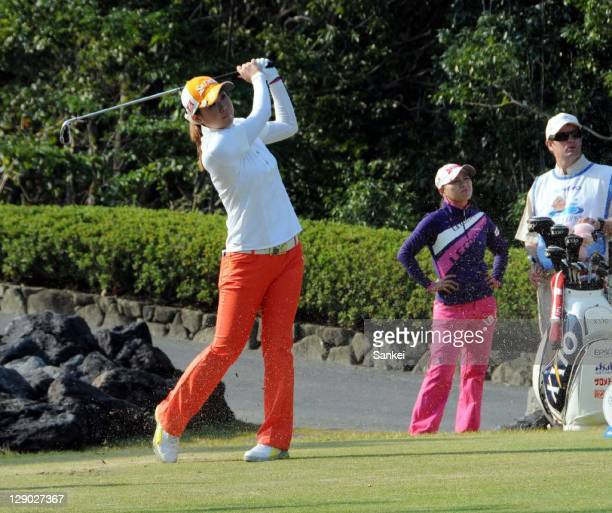 Miho Koga hits a shot during the final round of the Sankyo Ladies Open at Yoshii Country Club on October 9 2011 in Takasaki Gunma Japan