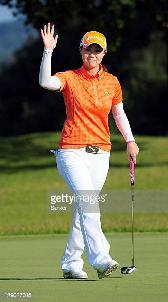 Miho Koga in action on the 12th hole during the second round of the Sankyo Ladies Open at Yoshii Country Club on October 8 2011 in Takasaki Gunma...
