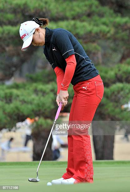Miho Koga of Japan attempts the birdie putt on the 9th green during the final round of the Yokohama Tire Golf Tournament PRGR Ladies Cup at Tosa...