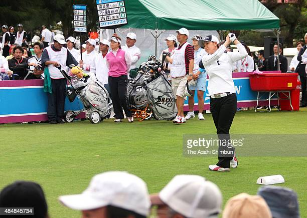 Miho Koga of Japan hits a tee shot during the first round of the Daikin Orchid Ladies at Ryukyu Golf Club on March 6 2009 in Nanjo Okinawa Japan