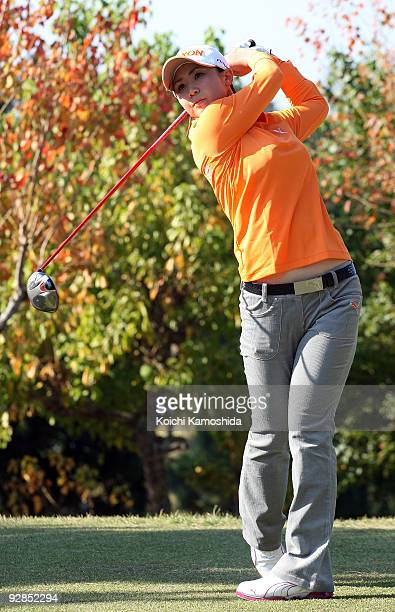 Miho Koga of Japan tees off the second hole during the round one of Mizuno Classic at Kintetsu Kashikojima Country Club on November 6 2009 in Shima...
