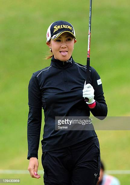 Miho Koga sticks tongue out after she missed a shot during the second round of the Fujitsu Ladies at Tokyu Seven Hundred Club on October 15 2011 in...