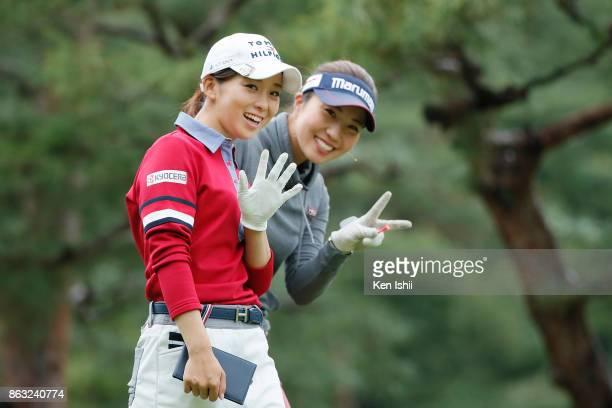 Miho Mori and Riko Inoue of Japan smile on the 11th hole during the final round of the Kyoto Ladies Open at the Joyo Country Club on October 20 2017...