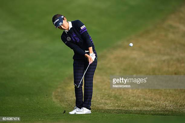 Miho Mori of Japan chips onto the 2nd green during the second round of the Daio Paper Elleair Ladies Open 2016 at the Elleair Golf Club on November...