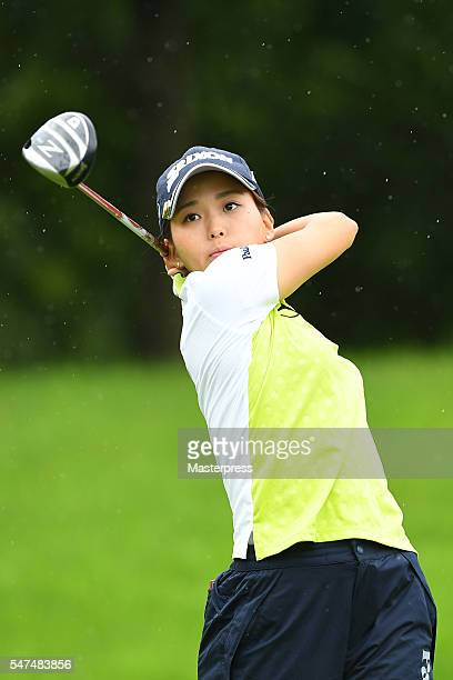 Miho Mori of Japan hits her tee shot on the 11th hole during the first round of the Samantha Thavasa Girls Collection Ladies Tournament 2016 at the...