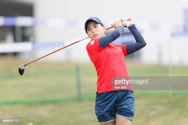 Miho Mori of Japan hits her tee shot on the 15th hole during the final round of the DAIKURE Ladies Cup at Kure Country Club on May 25 2017 in Kure...