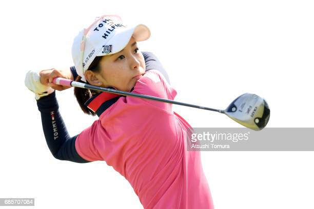 Miho Mori of Japan hits her tee shot on the 1st hole during the final round of the Twin Fields Ladies Tournament at the Golf Club Twin Fields on May...