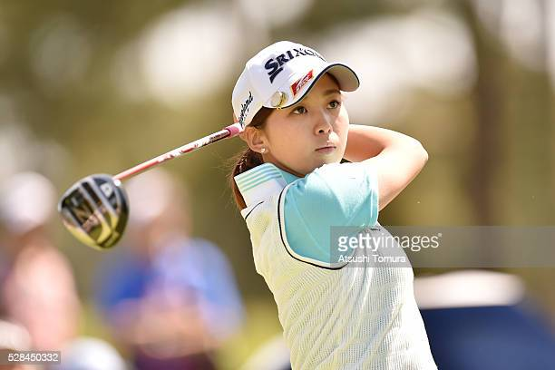 Miho Mori of Japan hits her tee shot on the 2nd hole during the first round of the World Ladies Championship Salonpas Cup at the Ibaraki Golf Club on...
