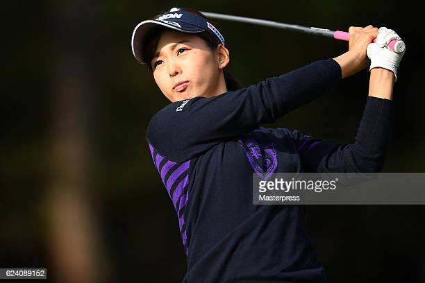 Miho Mori of Japan hits her tee shot on the 3rd hole during the second round of the Daio Paper Elleair Ladies Open 2016 at the Elleair Golf Club on...