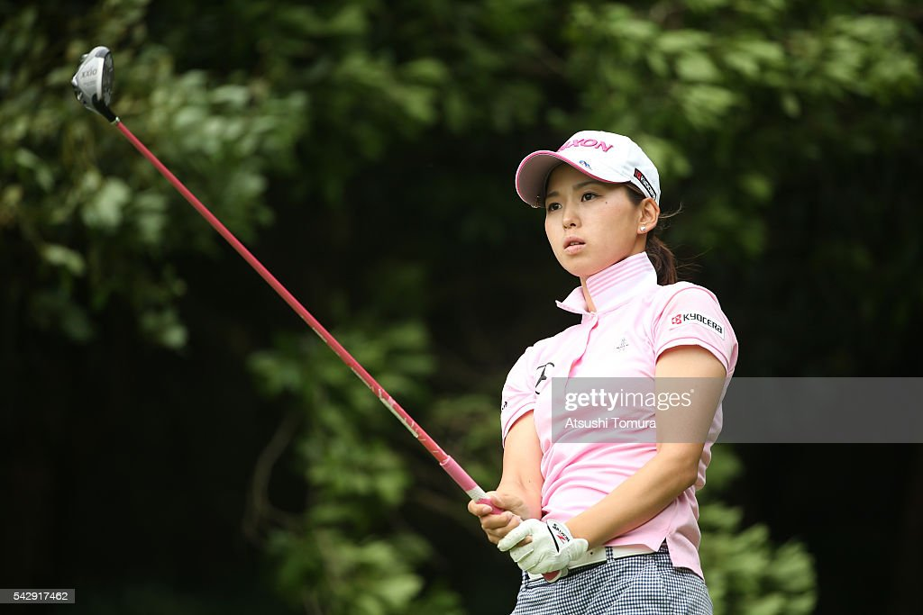 Miho Mori of Japan hits her tee shot on the 4th hole during the third round of the Earth Mondamin Cup at the Camellia Hills Country Club on June 25, 2016 in Sodegaura, Japan.