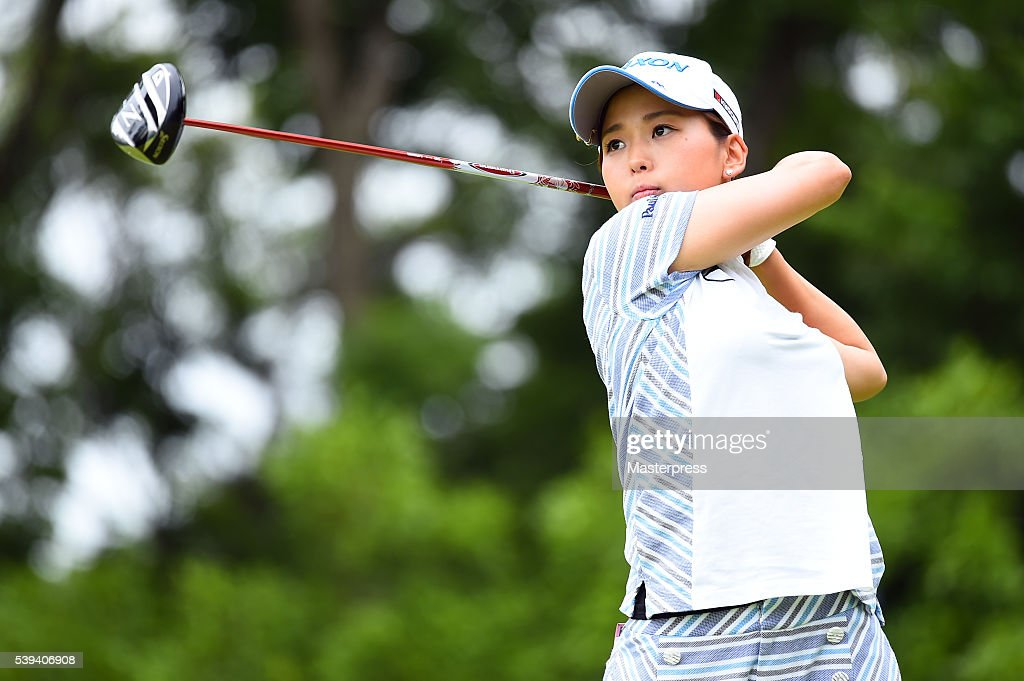 Miho Mori of Japan hits her tee shot on the 7th hole during the third round of the Suntory Ladies Open at the Rokko Kokusai Golf Club on June 11, 2016 in Kobe, Japan.
