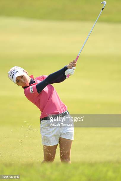 Miho Mori of Japan hits her third shot on the 1st hole during the final round of the Twin Fields Ladies Tournament at the Golf Club Twin Fields on...