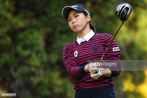 Miho Mori of Japan looks on during the first round of the Daio Paper Elleair Ladies Open 2016 at the Elleair Golf Club on November 17 2016 in...