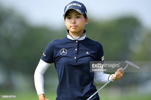 Miho Mori of Japan looks on during the first round of the Golf 5 Ladies Tournament 2016 at the Golf 5 Country Bibai Course on September 2 2016 in...