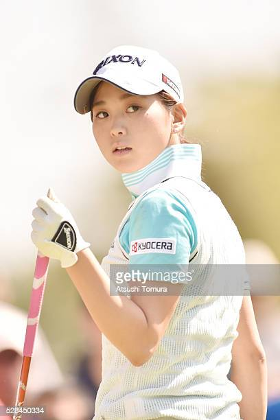 Miho Mori of Japan looks on during the first round of the World Ladies Championship Salonpas Cup at the Ibaraki Golf Club on May 5 2016 in...