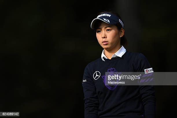 Miho Mori of Japan looks on during the second round of the Daio Paper Elleair Ladies Open 2016 at the Elleair Golf Club on November 18 2016 in...