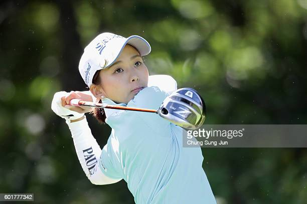 Miho Mori of Japan plays a tee shot on the 2nd hole during the third round of the 49th LPGA Championship Konica Minolta Cup 2016 at the Noboribetsu...