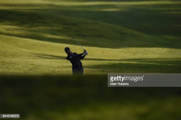 Miho Mori of Japan plays her approach shot on the 1st hole during the second round of the 50th LPGA Championship Konica Minolta Cup 2017 at the Appi...