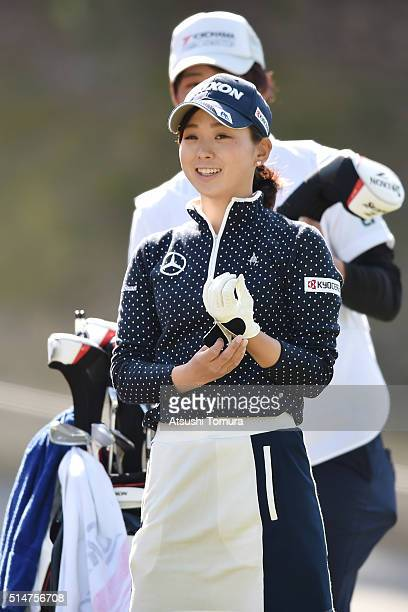 Miho Mori of Japan smiles during the first round of the Yokohama Tyre PRGR Ladies Cup at the Tosa Country Club on March 11 2016 in Konan Japan
