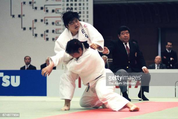 Miho Ninomiya and Noriko Anno compete in the final during the All Japan Women's Judo Championship at Aichi Prefecture Budokan on April 13 1997 in...
