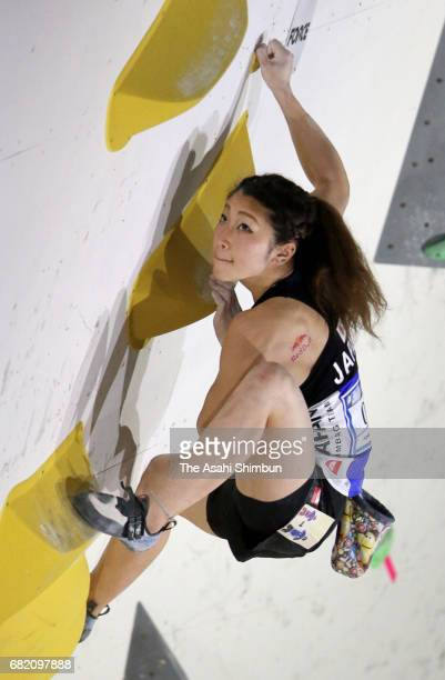 miho Nonaka of Japan competes in the Women's Bouldering during the IFSC Climbing Worldcup Hachioji at Esforta Arena Hachioji on May 6 2017 in...
